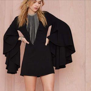 Nasty Gal bell sleeve crepe dress